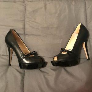 Enzo Angiolini black leather platform heels